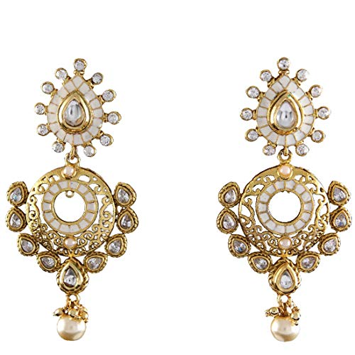 JewelryGift Elegant Chandlier Earrings Gold Plated Cubic Zircon Pearl Drop Embellished Designer Jewellery for Sister Wife ME 79-WHITE
