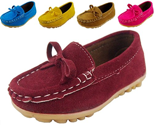 DADAWEN Boy's Girl's Adorable Bow Slip-on Loafers Oxford Shoes Dark Red US Size 5.5 M Toddler