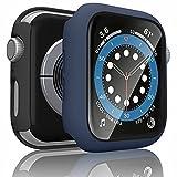 Wanme 2 Pack Funda Compatible con Apple Watch 44mm Serie 6/SE/5/4, PC Case y Vidrio Protector de Pantalla Integrados, Protección Completo Anti-Rasguños (44mm Negro+Azul Marino)