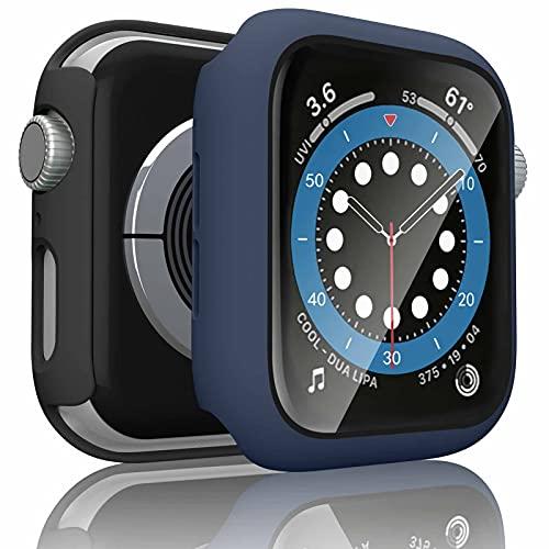 Wanme 2 Pack Funda Compatible con Apple Watch 44mm Serie 6 SE 5 4, PC Case y Vidrio Protector de Pantalla Integrados, Protección Completo Anti-Rasguños (44mm Negro+Azul Marino)
