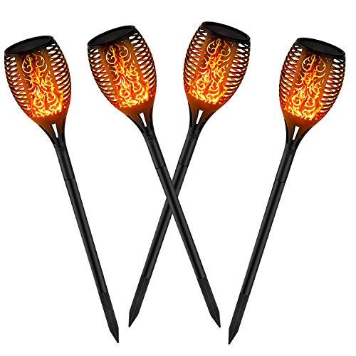 kefflum 4x Solar Flammenlicht Solar Gartenleuchten 96 Led Solarlampe Garten fackeln IP65 für Garten Beleuchtung mit realistischen Flammen Automatische EIN/Aus Außen...