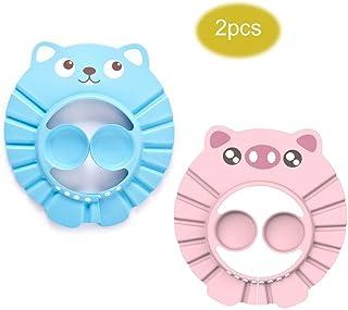 enfants bleu, rose b/éb/é Kitchen-dream Bonnet de douche b/éb/é Shampooing Capuchon imperm/éable r/églable pour la douche Safe Hat souple pour tout-petits