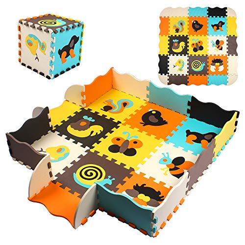 StillCool Puzzle Tapis Mousse Bébé avec Clôture, 25 Pièces Tapis de Jeu Très Résistant pour Enfants, Chiffres(Animaux)