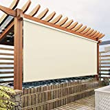Exterior Blackout Roller Shades Cordless Blinds, Beige Custom Outdoor Waterproof Window Shades Windproof Window Blinds for Porch, Gazebo, Patio, Back Yard, Deck, Balcony, Pergolas
