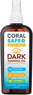 Coral Safe All-Natural Dark Tanning Oil, 8 fl oz. - 100% Biodegradable