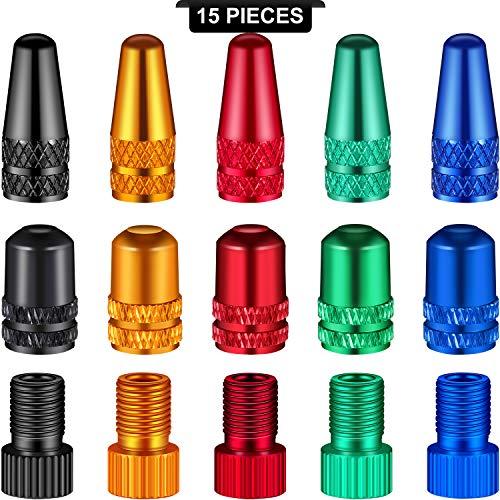 15 Adaptadores de Válvula de Bicicleta Válvula de Neumático de Bicicleta en 5 Colores, Incluyes 5 Adaptador Presta a Schrader, 5 Tapas de Válvula Presta y 5 Tapa de Válvula Schrader