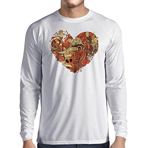 lepni.me Camiseta de Manga Larga para Hombre Corazón y símbolos de Amor romántico - Cupido, Rosa, Vino, música (XXX-Large Blanco Multicolor)