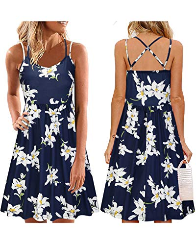 ULTRANICE Women's Summer Floral Sleeveless Adjustable Spaghetti Backless Short Dress