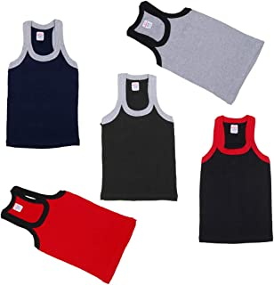 Kids Basket Baby Boys 100% Pure Cotton Multicolor Rib Vest Innerwear Combo Pack of 5 Pc Offer