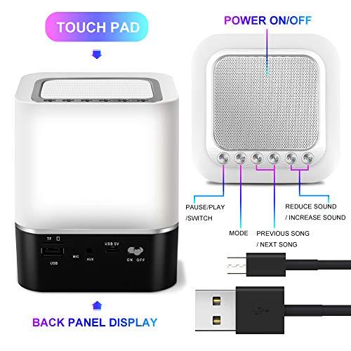 StillCool Enceinte Haut-parleur Bluetooth Portable Lampe de Chevet LED avec Contrôle Tactile, Lampe de Table Couleur Changeant la Lumière de Nuit avec le Réveil pour la Chambre