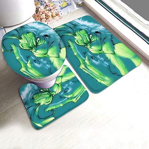XiaLianNai-shop Christmas Grinch Cartoon Bath Mat 3 Piece Set Soft Absorbent Anti-Slip Pads and Carpet Bath Mat Set, Bath Anti-Skid Pads + Toilet Lid Cover + Contour Pads Bathroom Carpet Sets