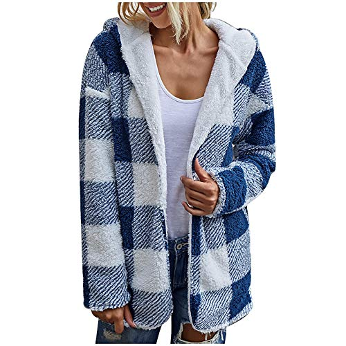 TOPSELD Womens Coat Parka Jacket Warm Faux Fur Lambswool Fluffy Hooded Contrast Colour Double Sided Plaid Outerwear(Blue,S)