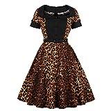 NOBRAND Vestido estampado de leopardo para mujer de tamaño grande, cómodo uso diario sencillo 1 36