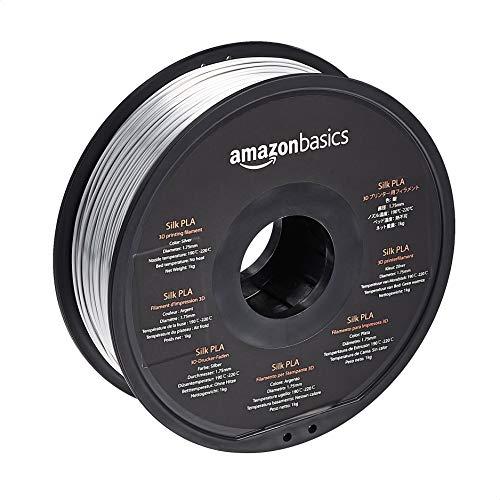 Amazon Basics SILK PLA 3D Printer Filament, 1.75 mm, Silver, 1 kg Spool (2.2 lbs)