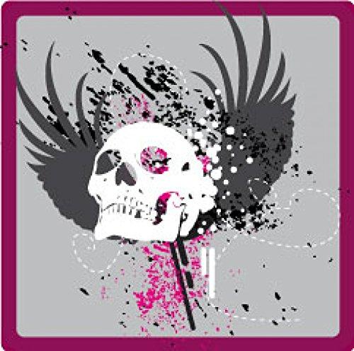 1art1 Gothic - Totenkopf Mit Flügeln Poster-Sticker Tattoo Aufkleber 9 x 9 cm
