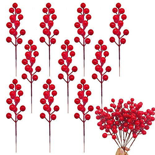Cshangzei 24 Pcs Red Berry Stems Artificial Red Berries Picks,7.9 Inch Fake Christmas Red Berry Branch for Christmas Tree Decoration,Holiday Crafts and Home Decor