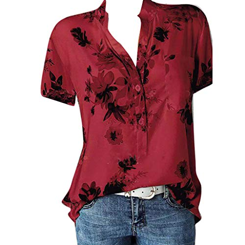 Meikosks Womens Plus Size Short Sleeve Blouses Floral Printing Pocket Tops Easy T Shirt Red