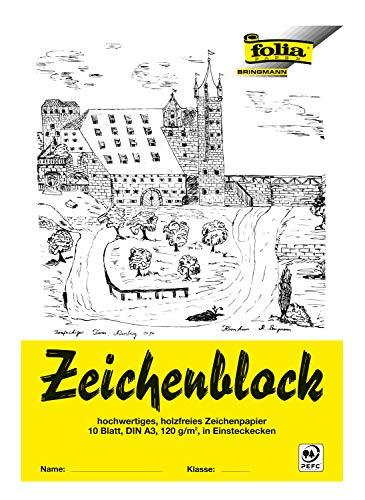 folia 8103 - Zeichenblock mit Leinenecken 120 g/m², DIN A3, 10 Bogen, weiß, hochwertiges, holzfreies Zeichenpapier