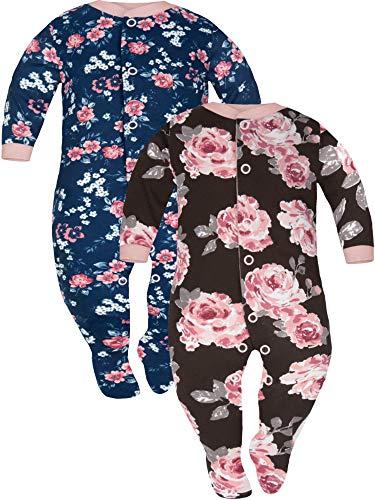 Sibinulo Niño Niña Peleles con Pies Antideslizantes Mamelucos Algodón, Pijama Tamaños 12 a 18 Meses, Pack de 2 Rosas Marrones y Azul Marino 86