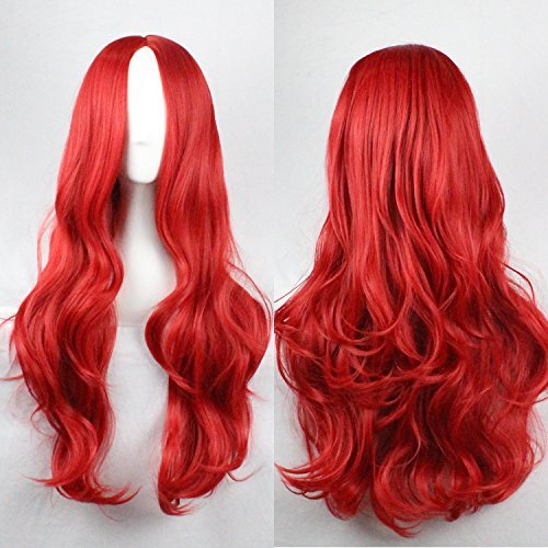 EllenaWomens/Ladies 75cm Red Color Long Curly Cosplay/Costume/Anime/Party/Bangs Full Sexy Wig (M6-027A)