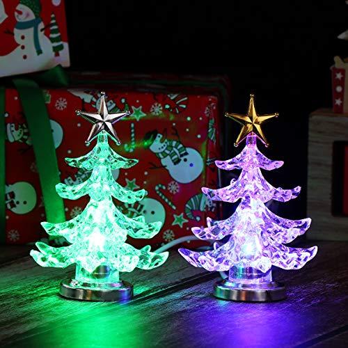Uonlytech Acryl weihnachtsbaum nachtlicht usb bunt leuchtende desktop lampe led nachtlicht weihnachtsdekoration für baby zimmer schlafzimmer home party 2 stücke (goldene silber)