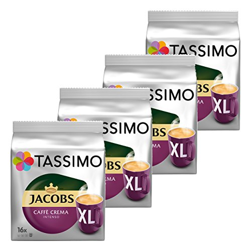 Tassimo Jacobs Caff? Crema Intenso CL Ground Coffee, Coffee Capsule Roaster Coffee 64?T-Discs