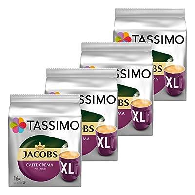 Tassimo Jacobs Caffè Crema Intenso CL Ground Coffee, Coffee Capsule Roaster Coffee 64T-Discs