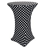 Your Chair Covers - 30' D x 42' H Highboy Cocktail Round Stretch Spandex Table Cover - Black and White Polka Dot, Fitted Elastic Tablecloth for Round Tables, Outdoor Party DJ Tradeshow Vendor Wedding
