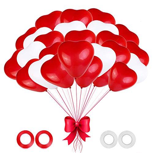 Globos Corazon, 100 Piezas Globos Boda, Globos Corazon Rojo Helio, Globo Corazon Blanco,Globos de Fiesta para Boda, Cumpleaños, Baby Shower,de Ceremonia Decoracion (Rojo blanco)