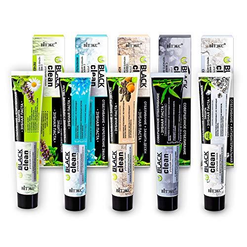 Vitex BLACK CLEAN Aktivkohle Zahnpasta-Probierset 5x 85g, 1x mit Silber, 1x mit Eichenrinde, 1x mit Kräutern, 1x mit Meersalz, 1x pur