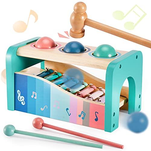 HYAKIDS 3 in 1 Xylophon und Hammerspiel Spielzeug aus Holz Baby Musikspielzeug Klopfbank Holzspielzeug Geschenke für Jungen Mädchen