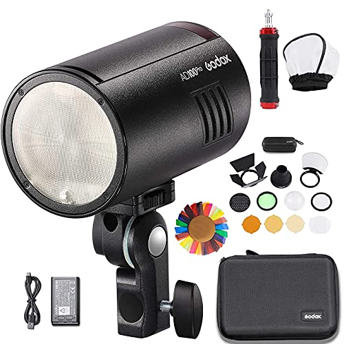 GODOX AD100 Pro Pocket Flash Strobe 100Ws AD100Pro 2.4GHz TTL 1 / 1800s Flash Speedlite Monolight con batería 2600mAh compatible con Canon Sony Nikon Fujifilm Olympus Panasonic Pentax DSLR