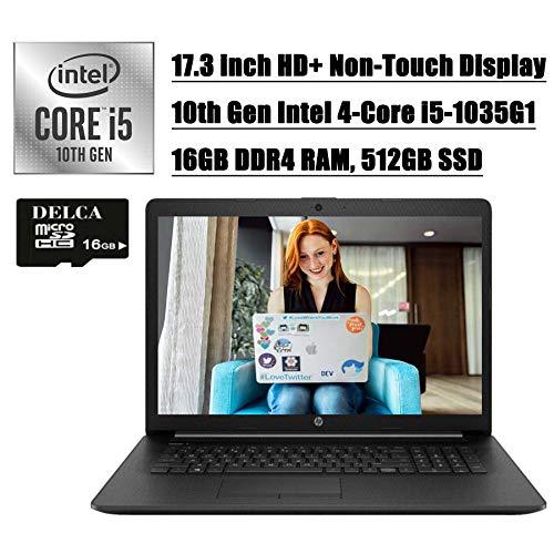 HP Laptop 2020 Premium Business Laptop Computer I 17.3 inch HD+ Non-Touch I 10th Gen Intel Quad-Core i5-1035G1 (>i7-8550U) I 16GB DDR4 512GB SSD I DVD HDMI WiFi Win 10 + Delca 16GB Micro SD Card