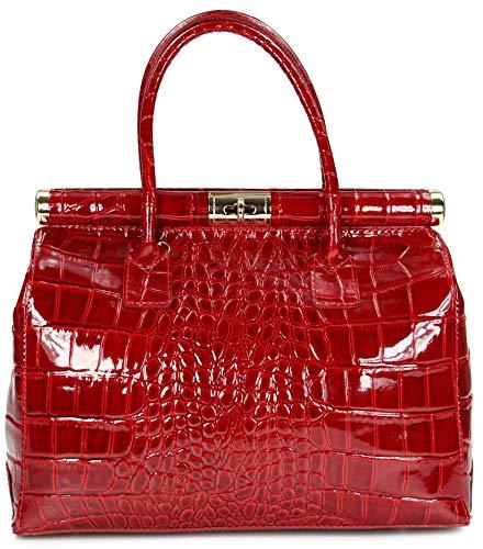 Belli 'The Bag XL Leder Henkeltasche Handtasche Damen Ledertasche Umhängetasche - 34x25x16 cm (B x H x T) (Bordeaux rot Lack)