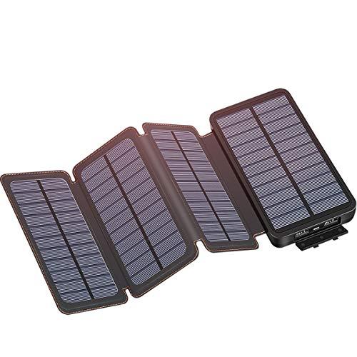 Solar Charger 25000mAh, IXNINE Solar Power Bank with 4 Solar...