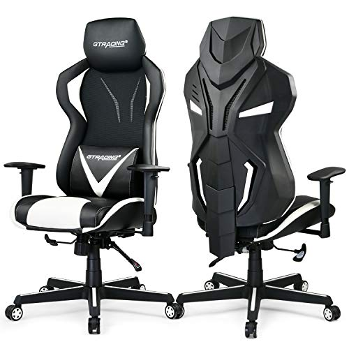 GTRACING Ergonomic Office Chair – Modern High Back Desk Chair – Reclining Computer Chair with Lumbar Support – Adjustable Seat Cushion & Headrest- Breathable Mesh Back – White (1 Pack)