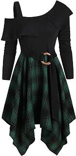 comprar comparacion Reooly Falda de Halloween, Vestido de Borla Irregular de Manga Larga con Volantes a Cuadros de la Cintura a Cuadros de Gra...