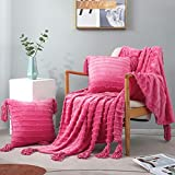 Exclusivo Mezcla 3-Piece Tassel Fringe Striped Fleece Throw Set, Chenille Fringes Throw Blanket with 2 Throw Pillow Covers( 50x60/18x18 Inches, Hot Pink)- Soft,Lightweight and Decorative