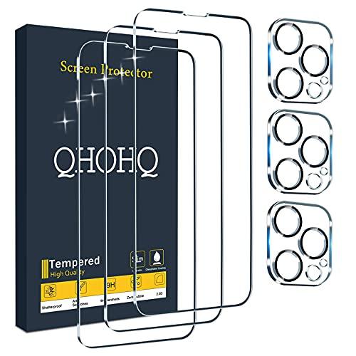 """QHOHQ 3 Pièces Verre Trempé pour iPhone 13 Pro 6.1"""" avec 3 Pièces Caméra Arrière Protecteur, Ultra Résistant Film Protection écran, 9H Dureté, HD, Anti-Rayures, Sans Bulles, Facile à Installer"""
