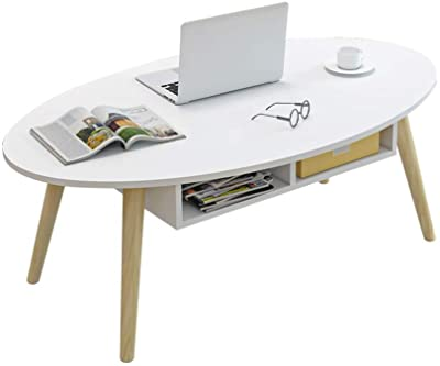 WY&XIAN Nordic Coffee Table with Drawers Living Room Laptop Table Solid Wood Legs Table for Small Units White-2 Sizes Folding,Multifunctional (Size : 120×60×42CM)