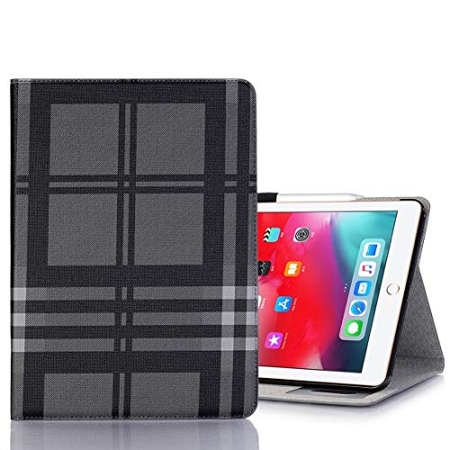 Ipad case Plaid Texture Horizontal Flip PU Leather Case for iPad Pro 11 inch (2018), with Holder & Card Slots & Wallet(Grey) Asun (Color : Grey)