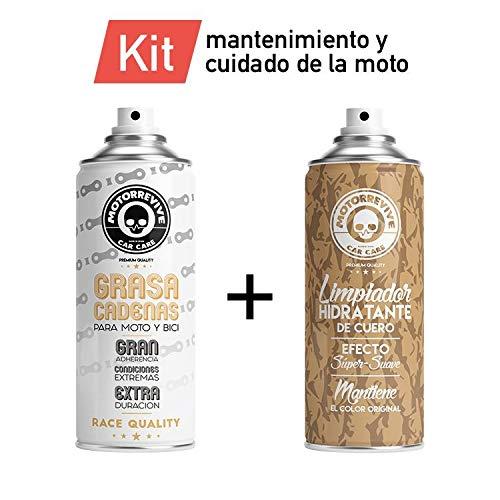 Motorrevive - Kit (Grasa Cadena Moto + Limpiador Hidratante de Cuero)