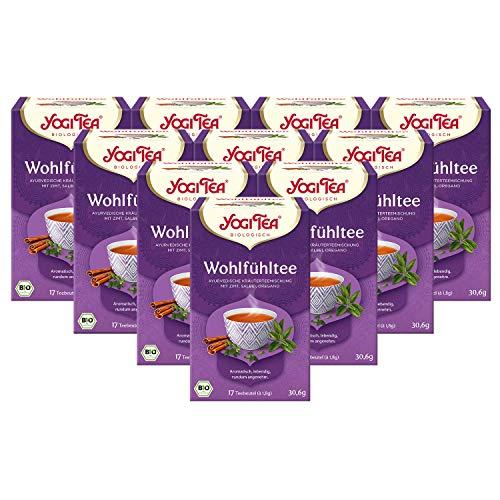 Yogi Tee 10x Wohlfühl Tee Bio YOGI TEA® I leckere ayurvedische Gewürz-Tee-Mischung - mit Zimt Salbei Oregano uvm. I 170 Tee-Beutel - echte Bio-Qualität I orientalischer Kräuter-Tee 10 Päckchen