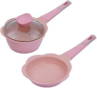 RYYAIYL Wok Maifan Stone Stir Fry Pans with Lid Single Handle Non-Stick Baby Food Pot Household Induction Cooker Universal...