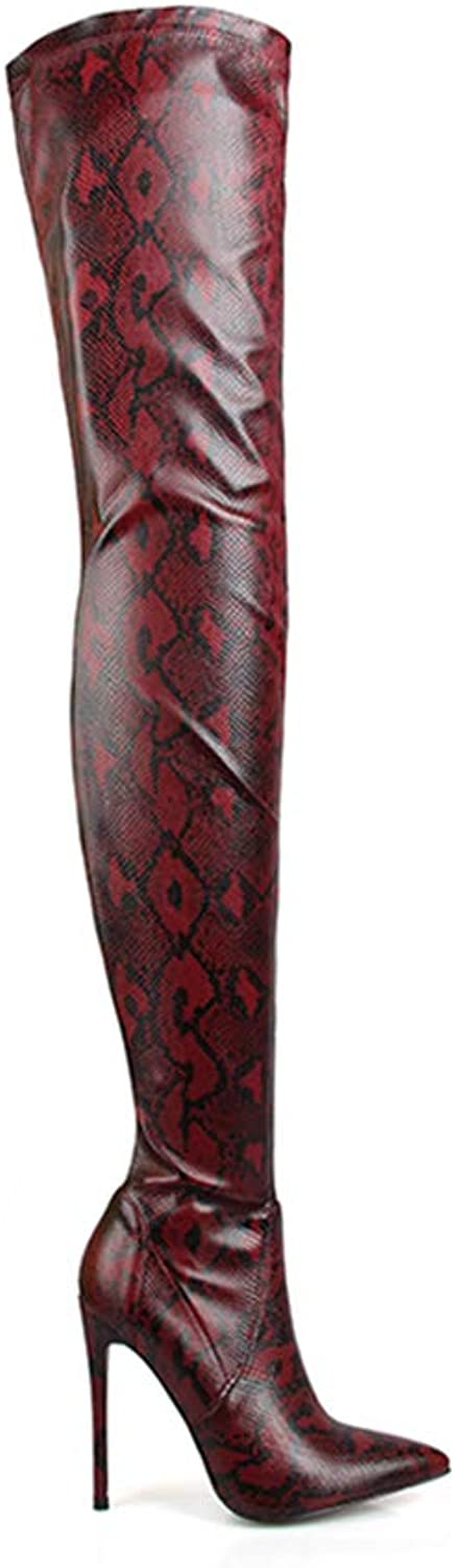Thigh High Over Knee Boots for Women shoes Snakeskin Pointed Toe Super Thin High Heels Long Boots