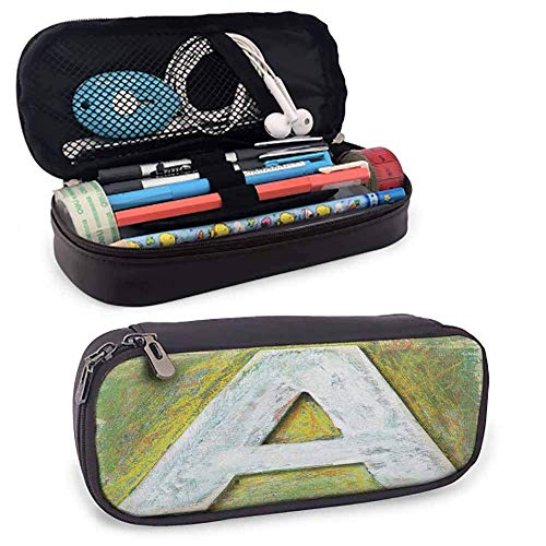 KLKLK Mäppchen Letter A Pen Box Worn Wooden Symbol of Uppercase A Letter Means of Written Language Print with Compartment White Green Yellow