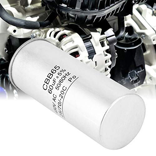 Nannday Compresor de Aire Acondicionado, Motor de Arranque de Condensador CBB65 60UF 450V para compresor de Aire Acondicionado