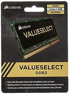 Corsair Value Select - Módulo de Memoria SODIMM de 4 GB (1 x 4 GB, DDR3, 1333 MHz, CL9) (CMSO4GX3M1A1333C9) (B002YU83YO)   Amazon price tracker / tracking, Amazon price history charts, Amazon price watches, Amazon price drop alerts