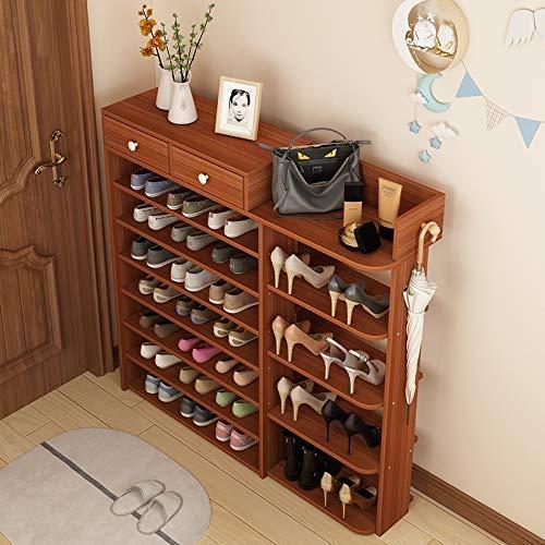 Zapatero, Zapatillas a prueba de polvo Gabinete de zapatos de madera de múltiples capas, soporte de zapatos de almacenamiento de gran capacidad, perchero de almacenamiento oculto multiuso (color: C, T