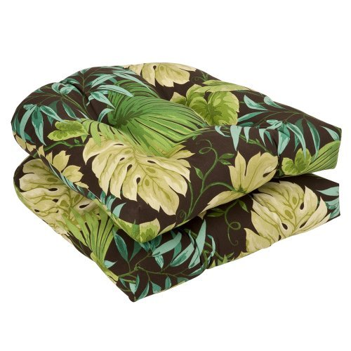 Pillow Perfect Indoor/Outdoor Brown/Green Tropical Wicker Seat Cushions, 19-inch Length, by Pillow Perfect
